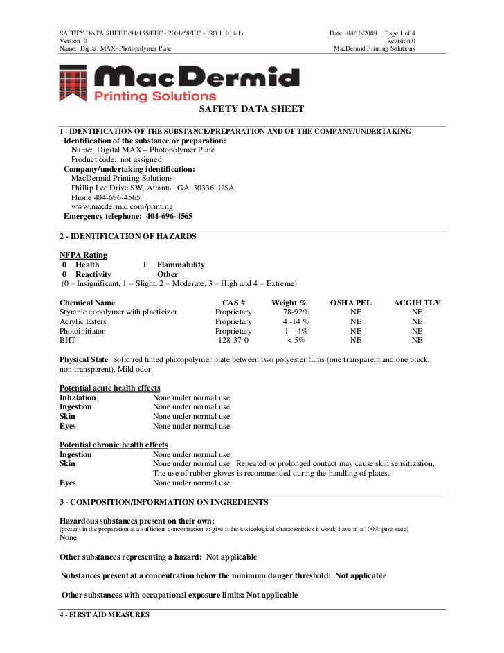 SAFETY DATA SHEET (91/155/EEC - 2001/58/F.C - ISO 11014-1)                                                Date: 04/10/2008...