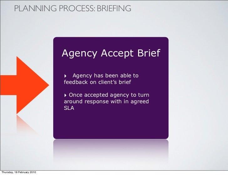 PLANNING PROCESS: BRIEFING                                  Agency Accept Brief                               ‣ Agency has...