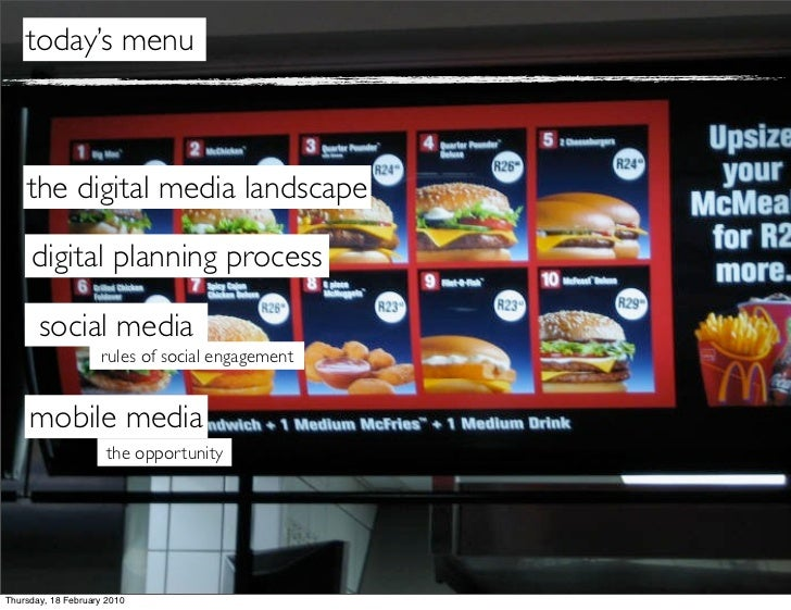 today's menu        the digital media landscape       digital planning process         social media                     ru...