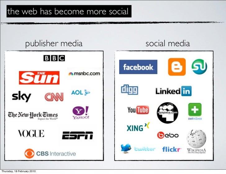 the web has become more social                     publisher media    social media     Thursday, 18 February 2010