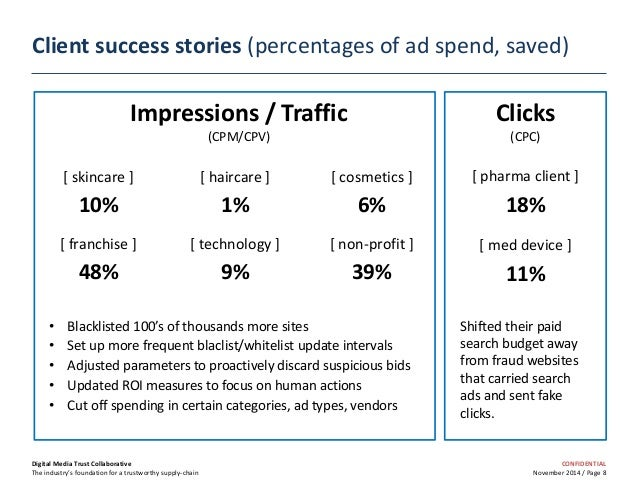 CONFIDENTIAL November 2014 / Page 8 Client success stories (percentages of ad spend, saved) Digital Media Trust Collaborat...