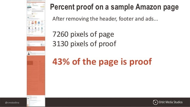 @crestodina After removing the header, footer and ads... 7260 pixels of page 3130 pixels of proof 43% of the page is proof...