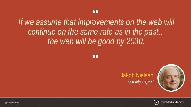 @crestodina Jakob Nielsen usability expert If we assume that improvements on the web will continue on the same rate as in ...