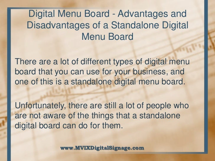 Digital menu board advantages and disadvantages of a