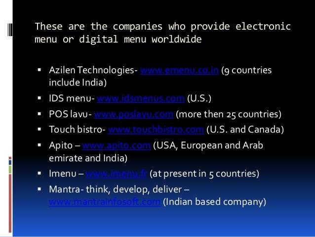 Digital Menu Or Electronic Menu In India
