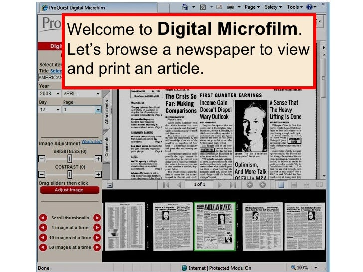 Digital Microfilm Welcome to  Digital Microfilm . Let's browse a newspaper to view and print an article.