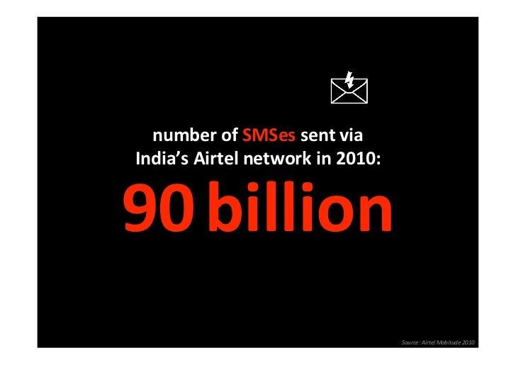 numberofSMSessentvia  India'sAirtelnetworkin2010:                              90billion                      ...
