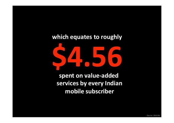 whichequatestoroughly$4.56   spentonvalue‐added servicesbyeveryIndian     mobilesubscriber                  ...