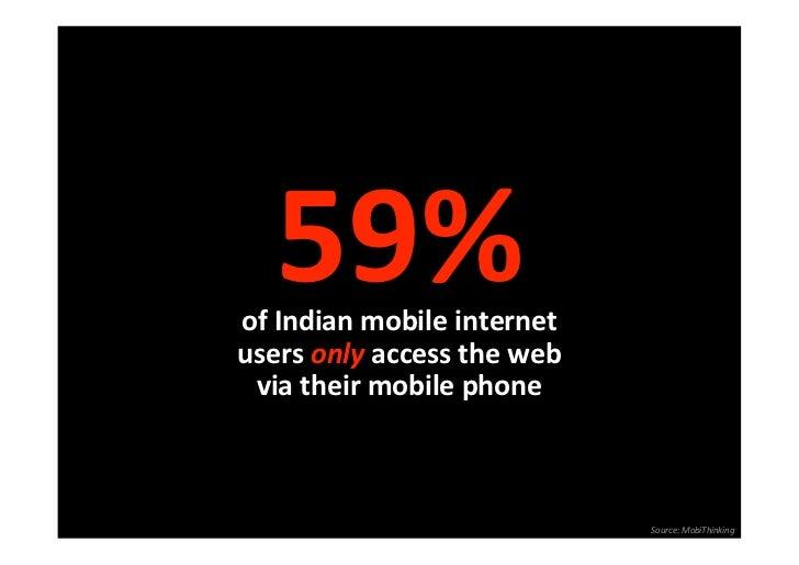 59%ofIndianmobileinternetusersonlyaccesstheweb viatheirmobilephone                             Source:MobiTh...