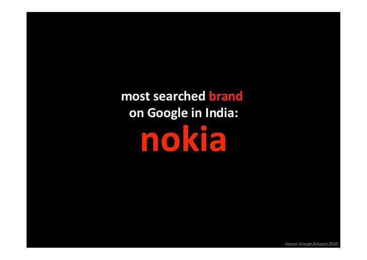 mostsearchedbrand  onGoogleinIndia:                      nokia                         Source:GoogleZeitgeist2...