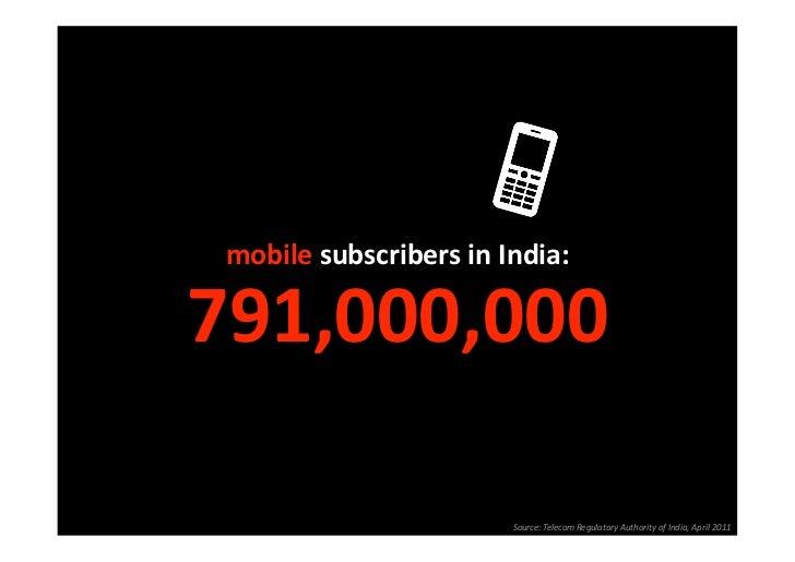 mobilesubscribersinIndia:791,000,000                         Source:TelecomRegulatoryAuthorityofIndia,April2011