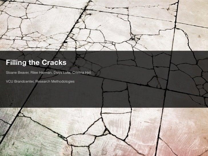 Filling the CracksSloane Beaver, Rilee Harman, Divya Lulla, Cristina HallVCU Brandcenter, Research Methodologies
