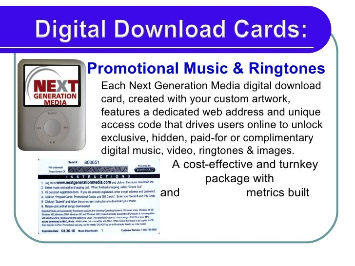 Each Next Generation Media digital download card, created with your custom artwork, features a dedicated web address and u...