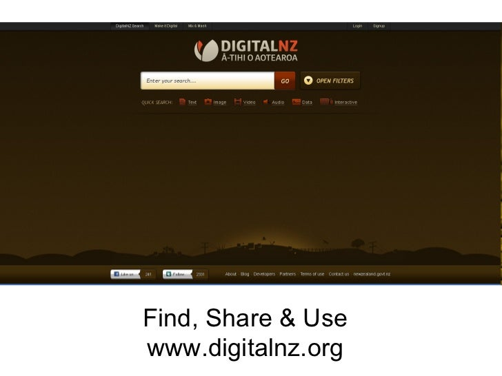 Find, Share & Use www.digitalnz.org