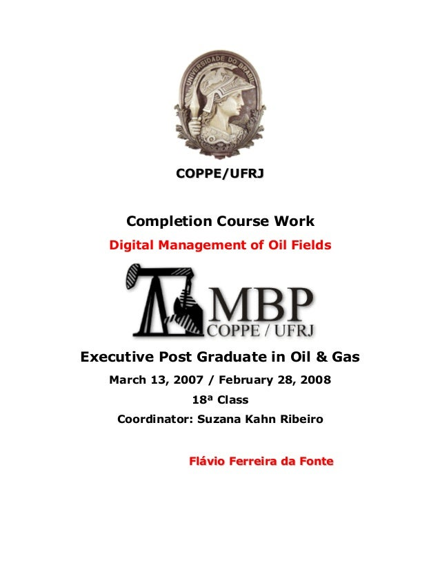 COPPE/UFRJ     Completion Course Work   Digital Management of Oil FieldsExecutive Post Graduate in Oil & Gas   March 13, 2...
