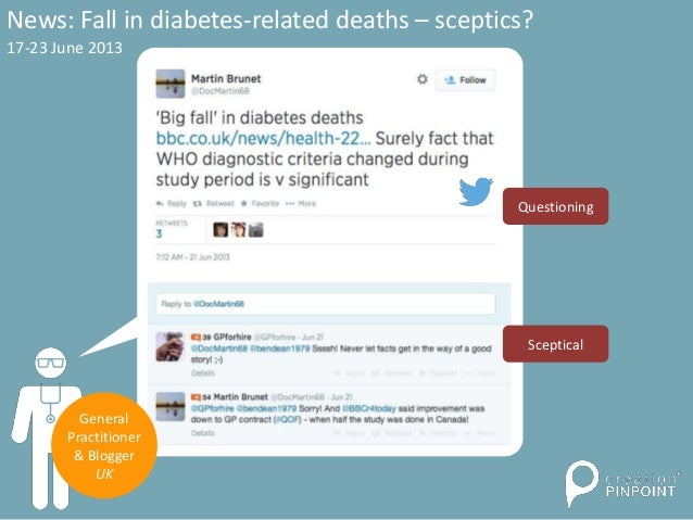 News: Fall in diabetes-related deaths – sceptics? 17-23 June 2013 General Practitioner & Blogger UK Questioning Sceptical