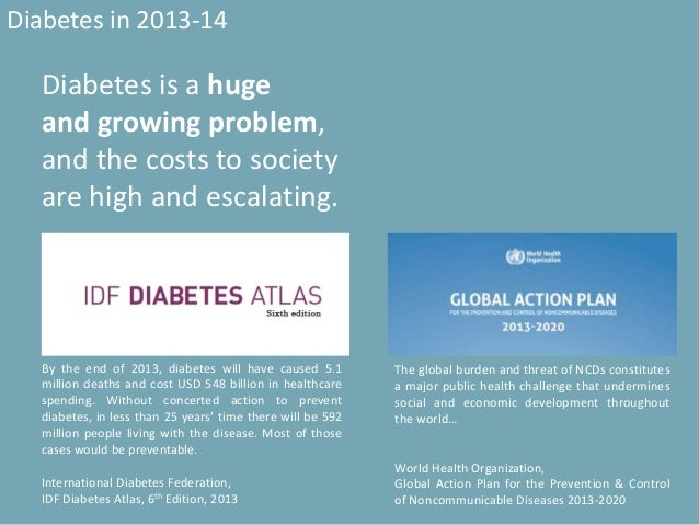 Diabetes in 2013-14 The global burden and threat of NCDs constitutes a major public health challenge that undermines socia...