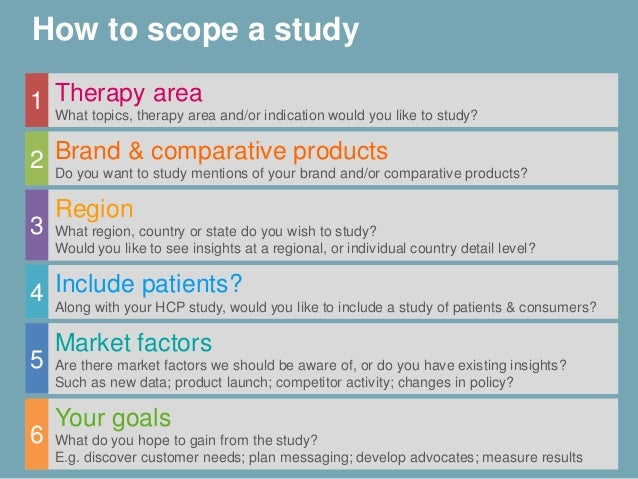 How to scope a study Therapy area What topics, therapy area and/or indication would you like to study? 1 Brand & comparati...