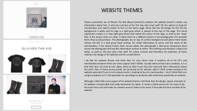 WEBSITE THEMES These screenshots are of Olivver the kids (Bryan Sammis's) website. His website doesn't contain any informa...