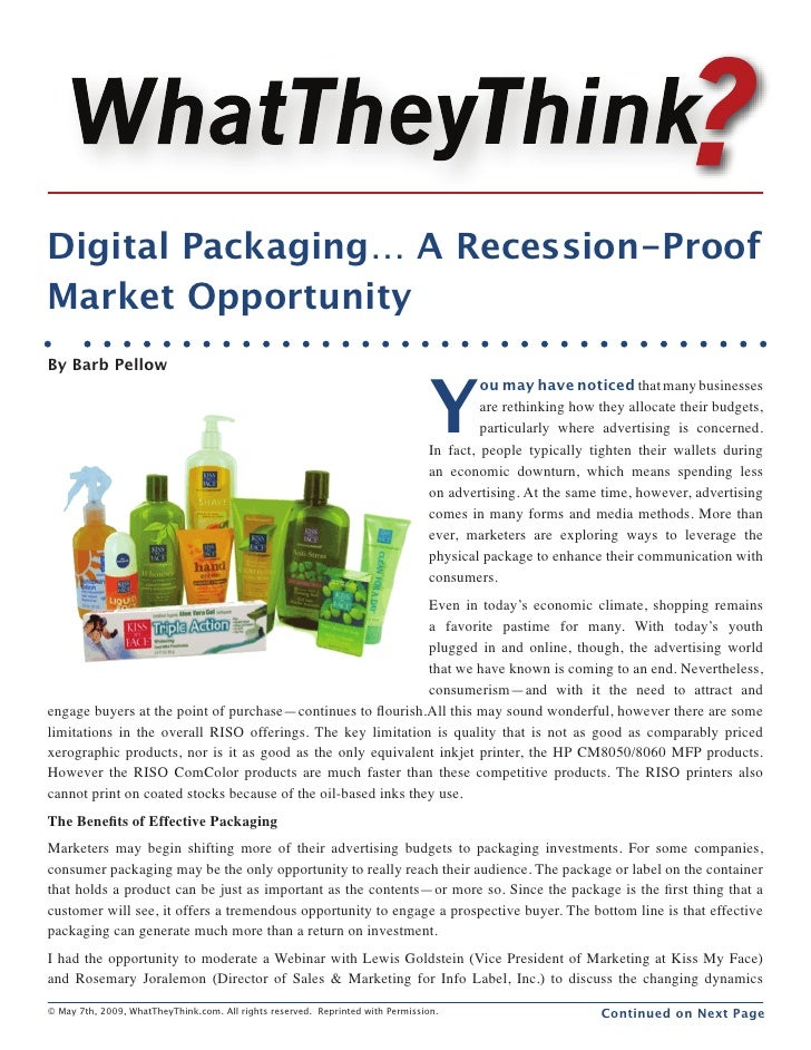 Digital Packaging… A Recession-Proof Market Opportunity                                                                   ...