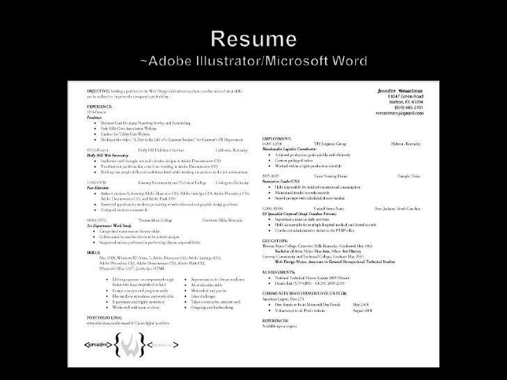 Resume~Adobe Illustrator/Microsoft Word<br />