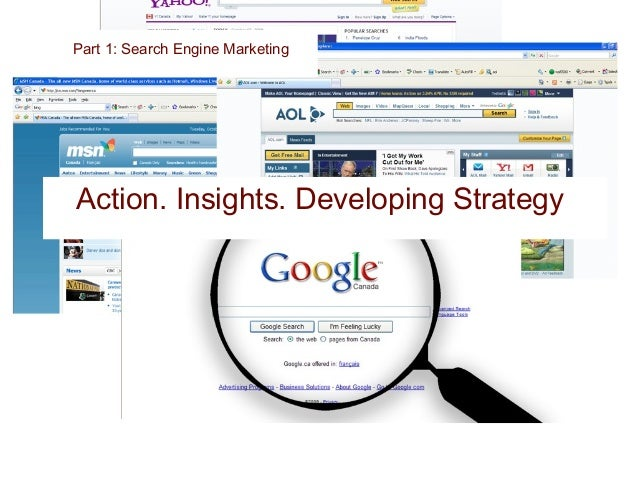 Part1: Search Engine Marketing Google Search I'm Feeling Lucky Relevant Search term Your Title Here Dynamic and engaging s...