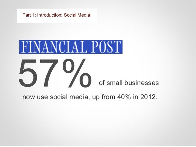 Part 1: Introduction: Social Media 92% of small business owners say that social media is an effective marketing tool E-Str...