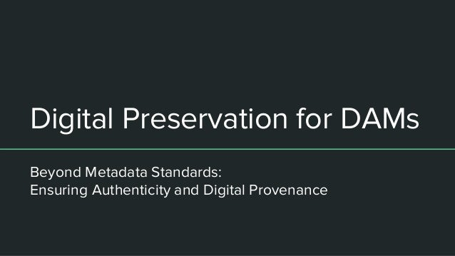 Digital Preservation for DAMs Beyond Metadata Standards: Ensuring Authenticity and Digital Provenance