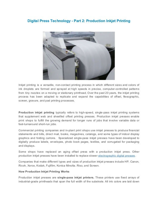 Digital press technology part 2 production inkjet printing