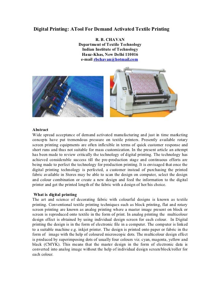 Digital Printing: ATool For Demand Activated Textile Printing                                    R. B. CHAVAN             ...