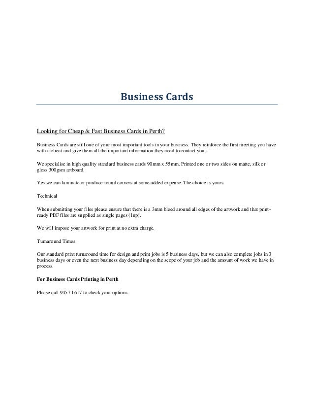Perth printing services business cards reheart Gallery