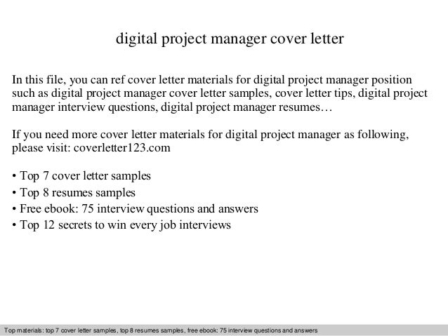 Digital Project Manager Cover Letter In This File You Can Ref Materials For