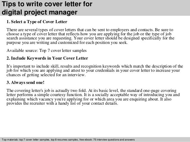 Digital Project Manager Cover Letter