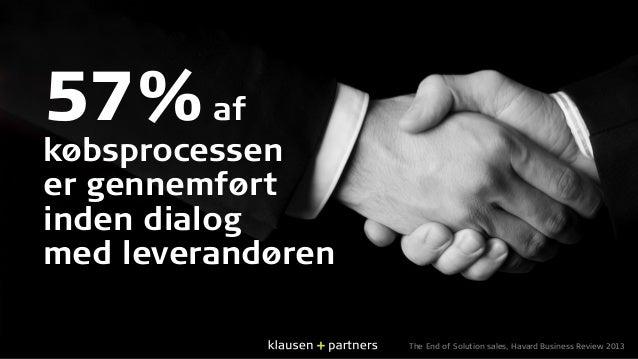 57%af købsprocessen er gennemført inden dialog med leverandøren The End of Solution sales, Havard Business Review 2013