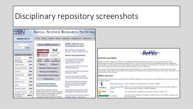 Disciplinary repository screenshots