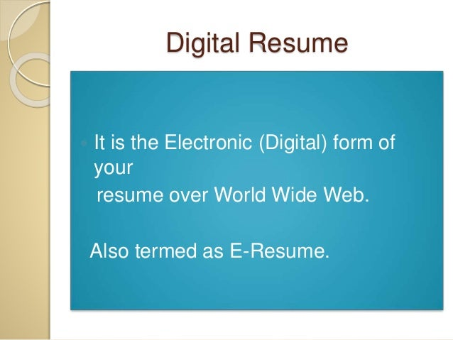 what is digital resume - Whats A Resume 2