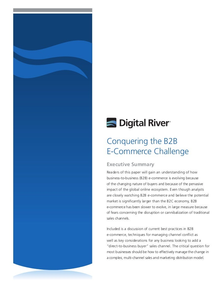Conquering the B2BE-Commerce ChallengeExecutive SummaryReaders of this paper will gain an understanding of howbusiness-to-...