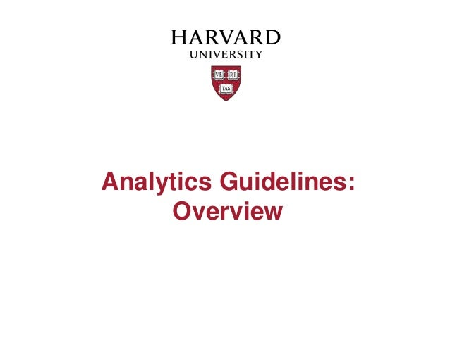 Analytics Guidelines:     Overview
