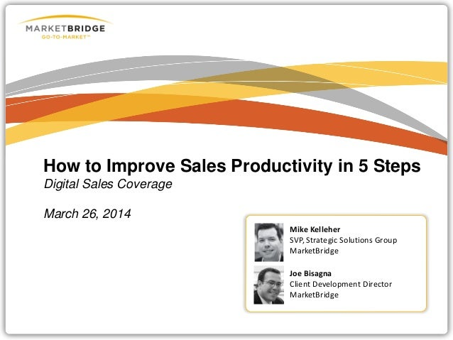 How to Improve Sales Productivity in 5 Steps Digital Sales Coverage March 26, 2014 Mike Kelleher SVP, Strategic Solutions ...