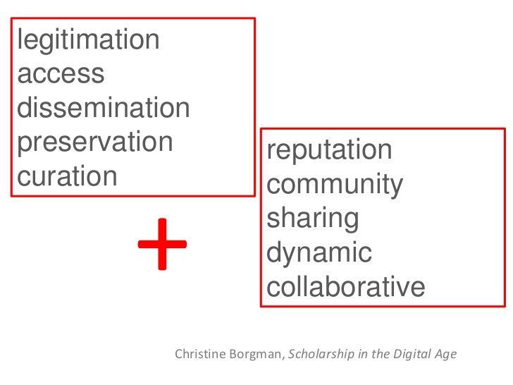 legitimationaccessdisseminationpreservation              reputationcuration                  community        +           ...