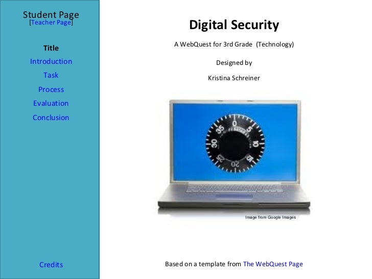 Digital Security Student Page Title Introduction Task Process Evaluation Conclusion Credits [ Teacher Page ] A WebQuest fo...