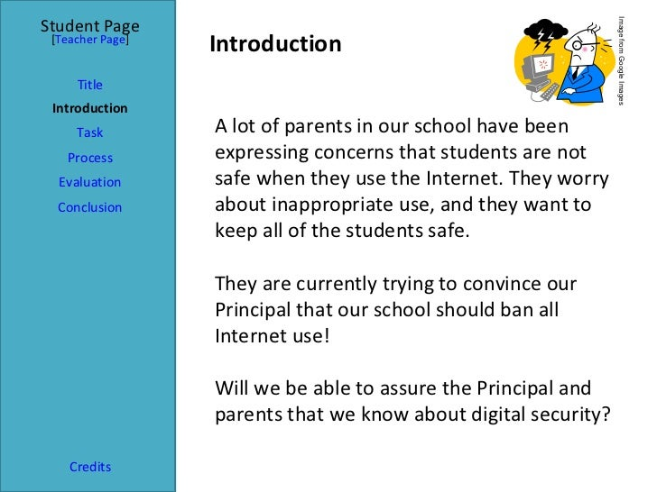 Introduction Student Page Title Introduction Task Process Evaluation Conclusion Credits [ Teacher Page ] A lot of parents ...