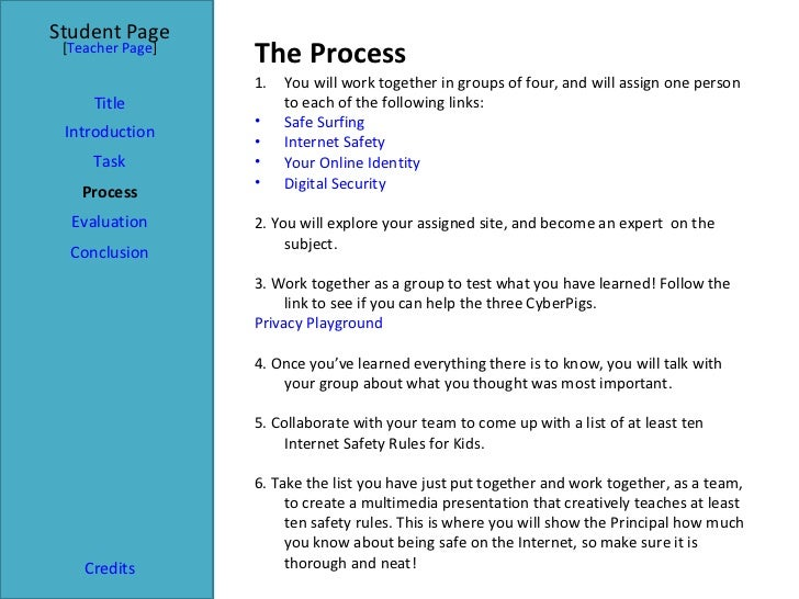 The Process Student Page Title Introduction Task Process Evaluation Conclusion Credits [ Teacher Page ] <ul><li>You will w...