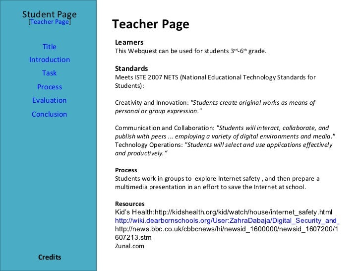 Teacher Page Student Page Title Introduction Task Process Evaluation Conclusion Credits [ Teacher Page ] Learners This Web...