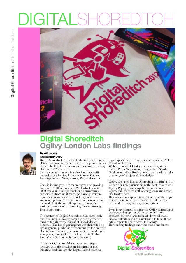 Digital Shoreditch : 21st May -1st June  DIGITALSHOREDITCH  Digital Shoreditch Ogilvy London Labs findings By Will Harvey ...