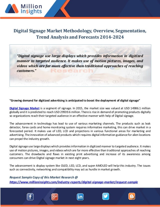 Digital Signage Market Methodology Overview Segmentation