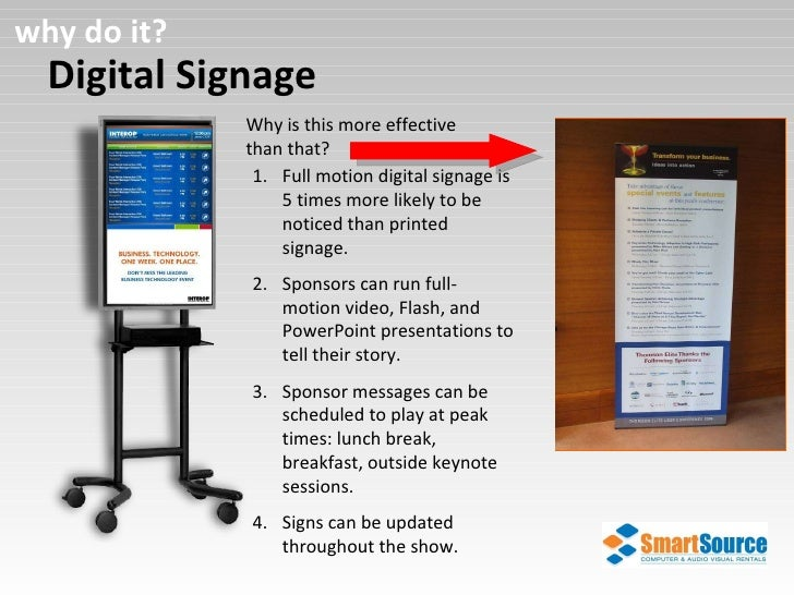 Digital Signage why do it? Why is this more effective than that?  <ul><li>Full motion digital signage is 5 times more like...
