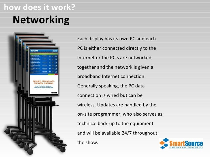 Networking how does it work? Each display has its own PC and each PC is either connected directly to the Internet or the P...