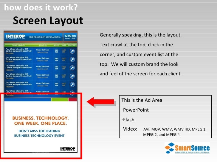 Screen Layout how does it work? Generally speaking, this is the layout.  Text crawl at the top, clock in the corner, and c...