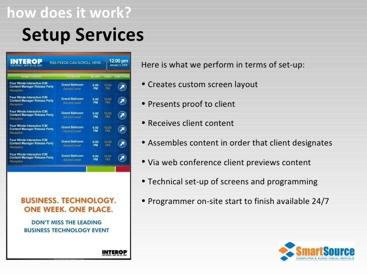 Setup Services how does it work? <ul><li>Here is what we perform in terms of set-up: </li></ul><ul><li>Creates custom scre...